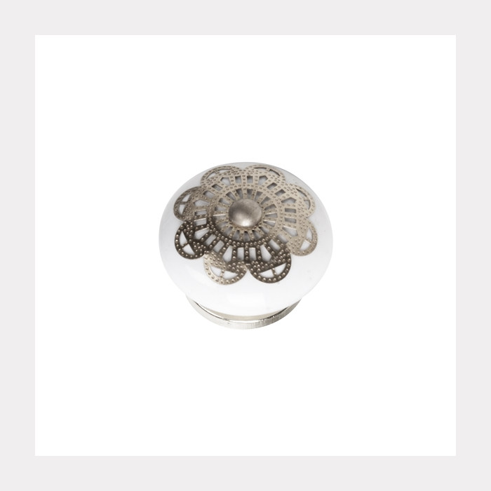 KNOB CERAMIC WITH SILVER FITTING