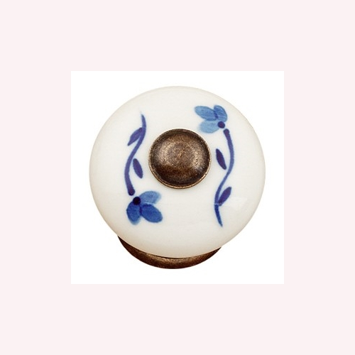 HAND PAINTED WHITE PORCELAIN WITH BRONZE FITTING. BLUE FLOWER FURNITURE KNOB