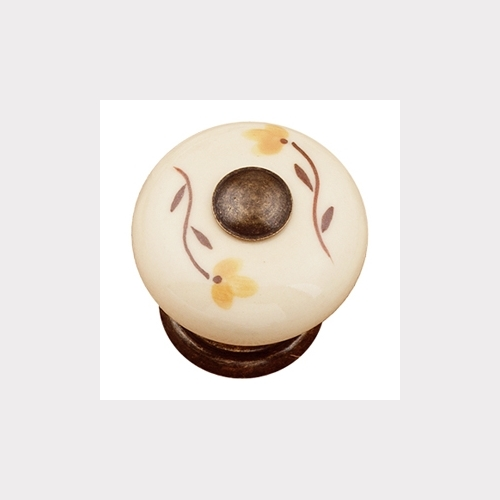 HAND PAINTED BROWN PORCELAIN WITH BRONZE FITTING. BROWN FLOWER FURNITURE KNOB