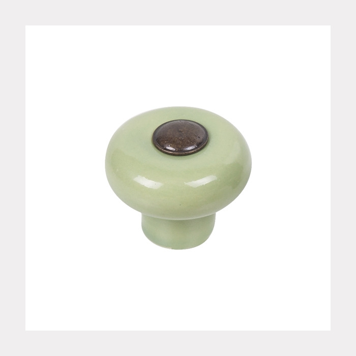 KNOB PORCELAIN GREEN WITH ANTIQUE BRONZE BUTTON