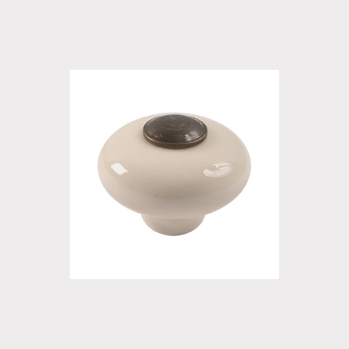 CREAM PORCELAIN FURNITURE KNOB WITH BRONZE FITTING, WITHOUT BASE