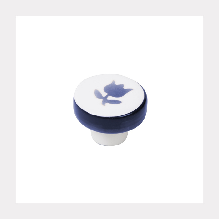 KNOB PORCELAIN DARK BLUE HAND PAINTED