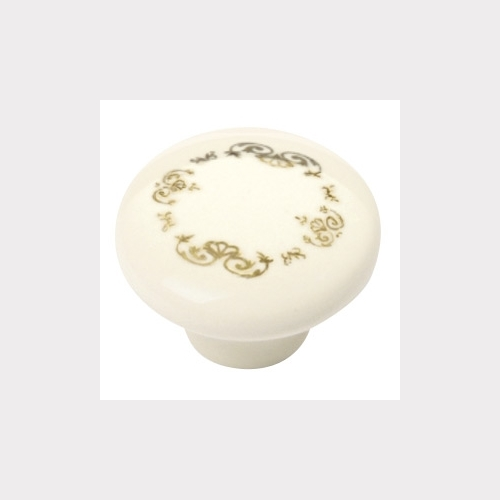 KNOB PORCELAIN BEIGE WITH FLOWER CROWN IN GOLD