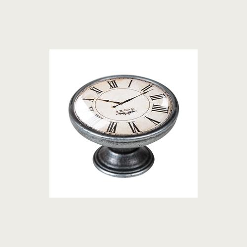 KNOB 37MM OLD SILVER WHITE CLOCK