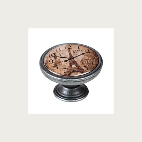 KNOB 37MM OLD SILVER CLOCK EIFFEL TOWER