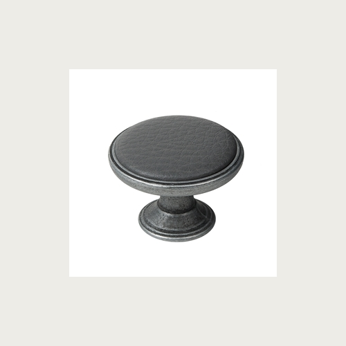 METAL KNOB 37MM OLD SILVER-SYNTHETIC LEATHER GREY