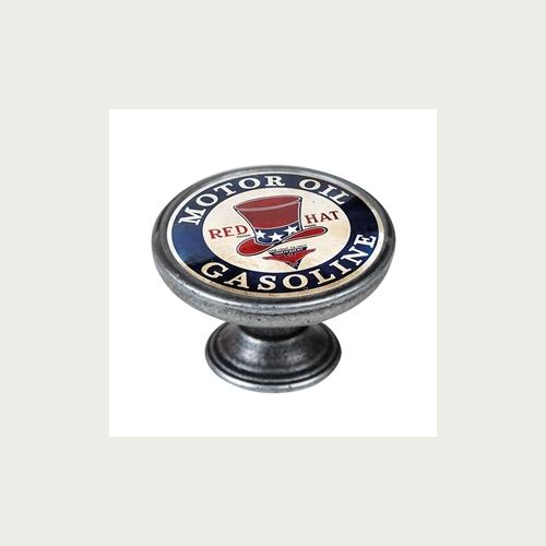 BOUTON 37MM ARGENT VIEILLI RED HAT