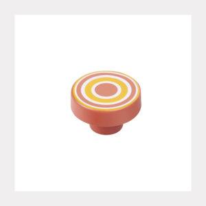 KNOB ABS CIRCLES ORANGE-RED