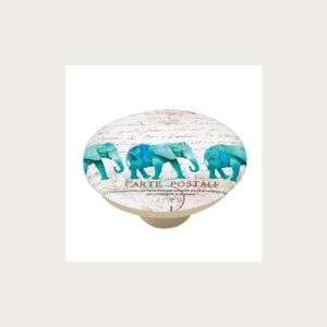 KNOB 50MM ABS WITH DESIGN TURQUOISE ELEFANT