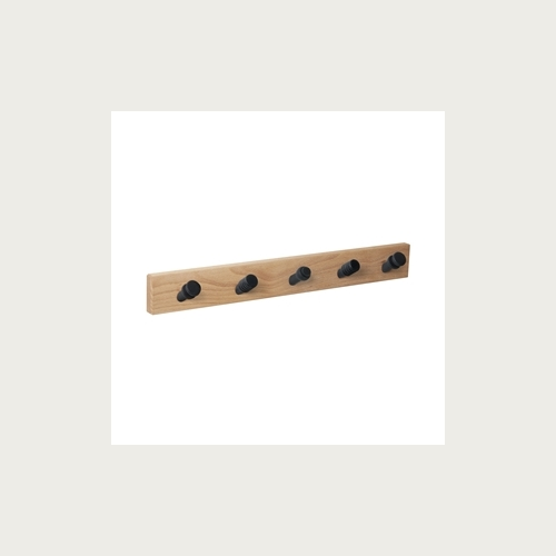 HANGER NATURAL WOOD 5 MIX INCLINED BLACK KNOBS
