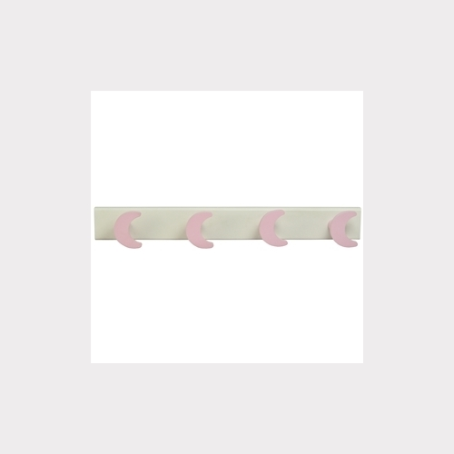 HANGER - 4 PINK MOONS LACQUERED WOOD - WHITE BASE BABY BEDROOM