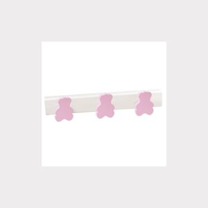 WALL HANGER  BEARS PINK. WHITE LACQUERED   BASE